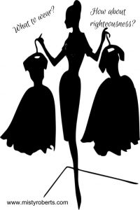 woman picking out a dress